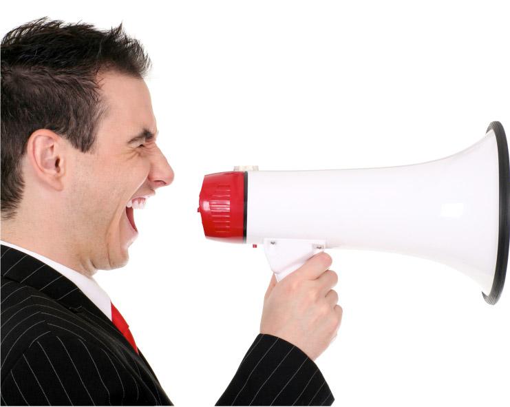 Man with loudhailer